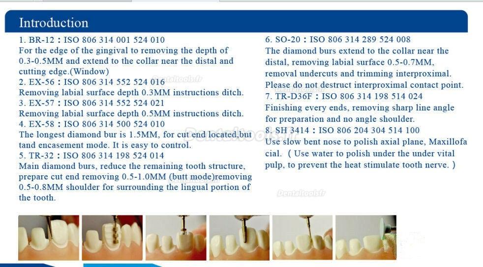 Vente de 7Pcs Fraises pour la préparation dentaire Fraises