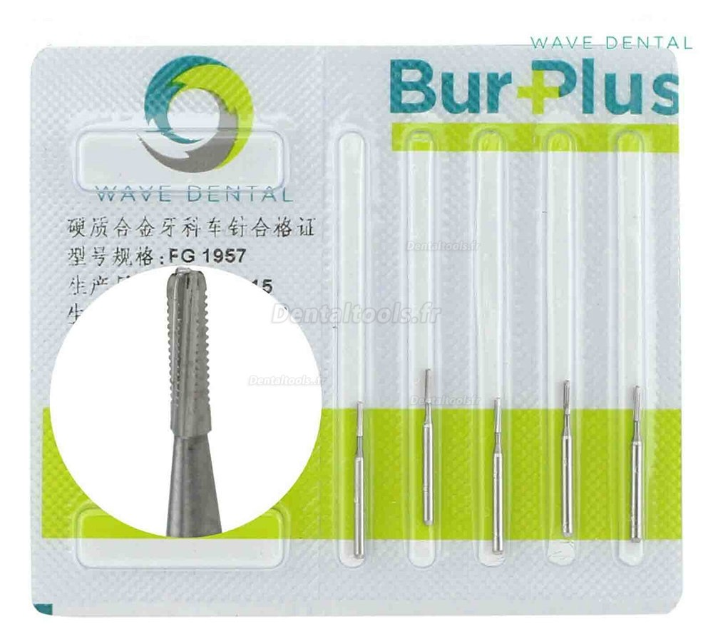 5Packs Wave Dental Tungsten Carbide Bur Crown Metal Cutting Straight Fissure 1957 1958