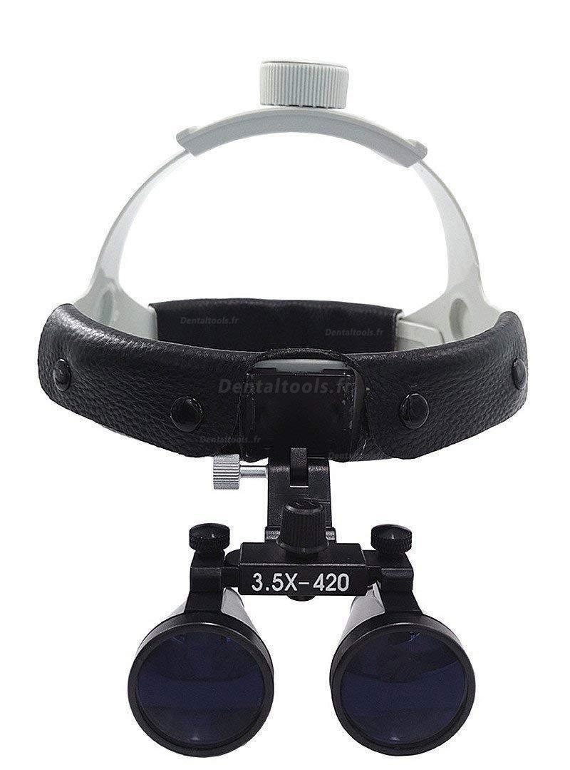 3.5X420mm Loupe binoculaire chirurgicale dentaire Bandeau en cuir+ lampe frontale à LED Dy-108